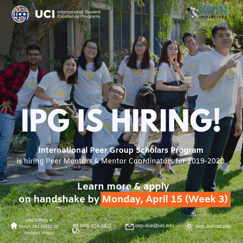 Uci Academic Calendar 2020 Now Hiring for 2019 2020   International Student Excellence Programs